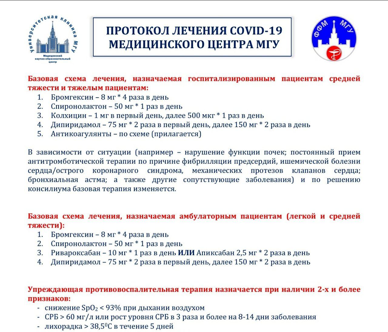 Протокол лечения и предупреждения заболевания COVID-19 от клиники МГУ